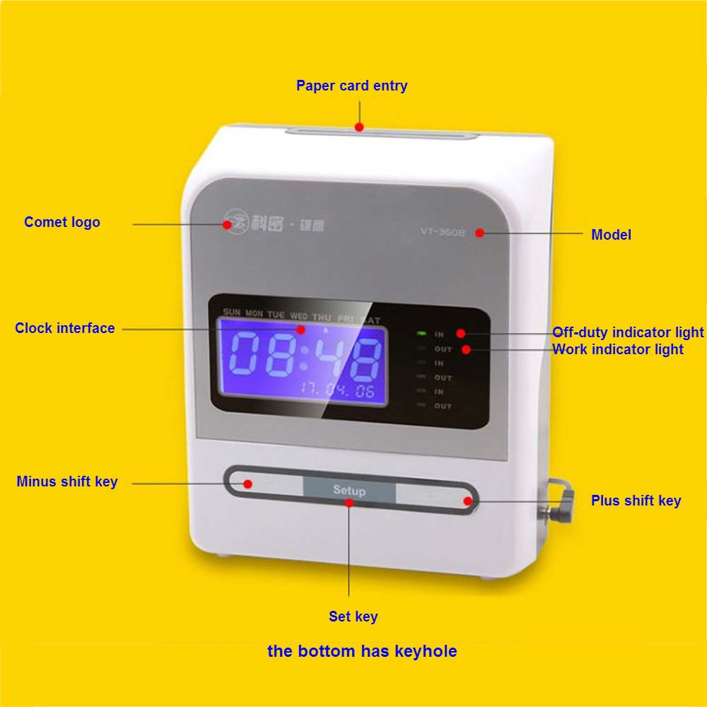 Punch time card machine clock time attendance tracking device time keeping machine