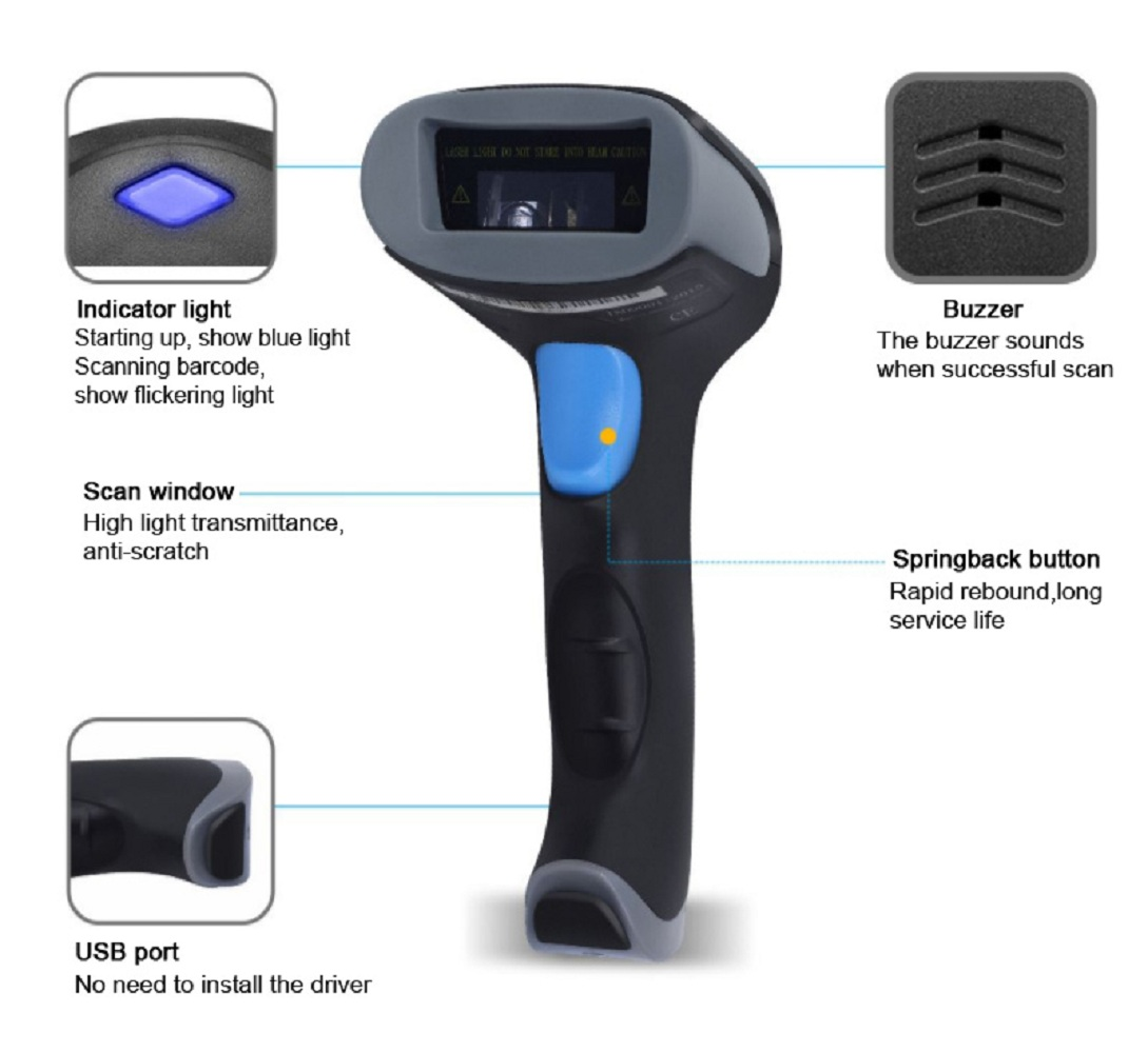 BaoShare WX-70 wireless laser barcode scanner bluetooth 2D scanner