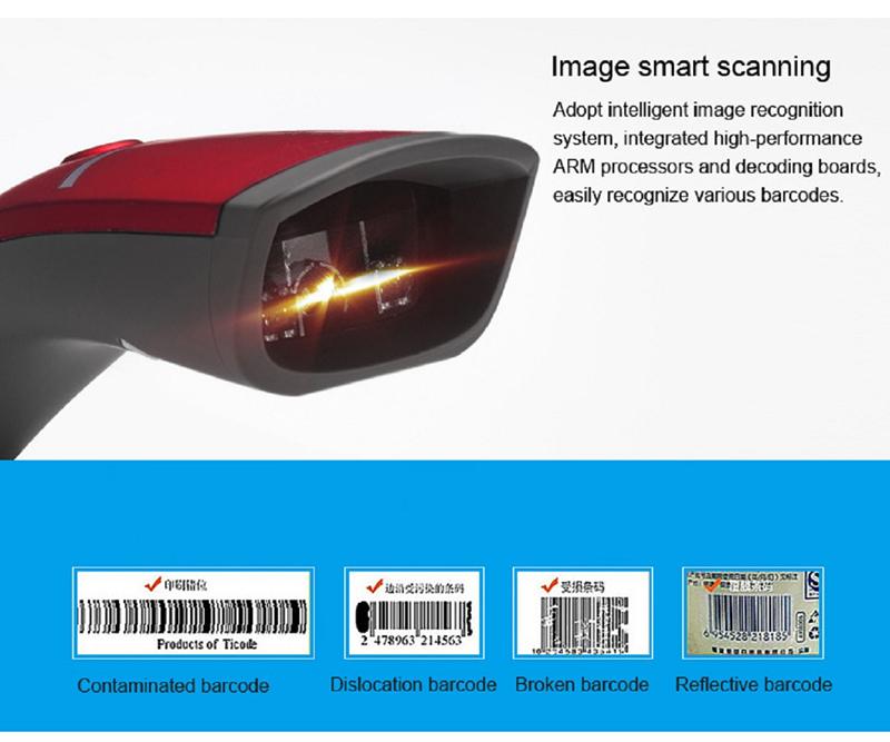 Guangzhou Factory price bluetooth barcode scanner 1d 2d QR code reader wireless handheld portable barcode scanner