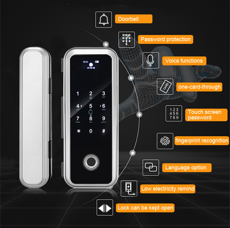 BaoShare RT-20S biometric and smart card access control door lock,glass door lock access control system