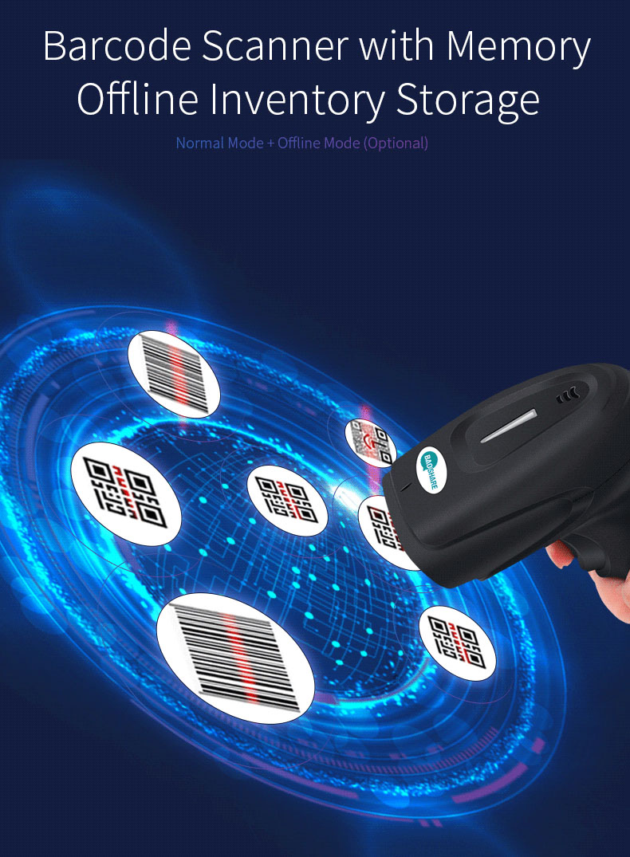 BaoShare YC600 Handheld Wireless 2D USB Barcode Scanner Cordless QR Code Scanner For Supermarket Inventory