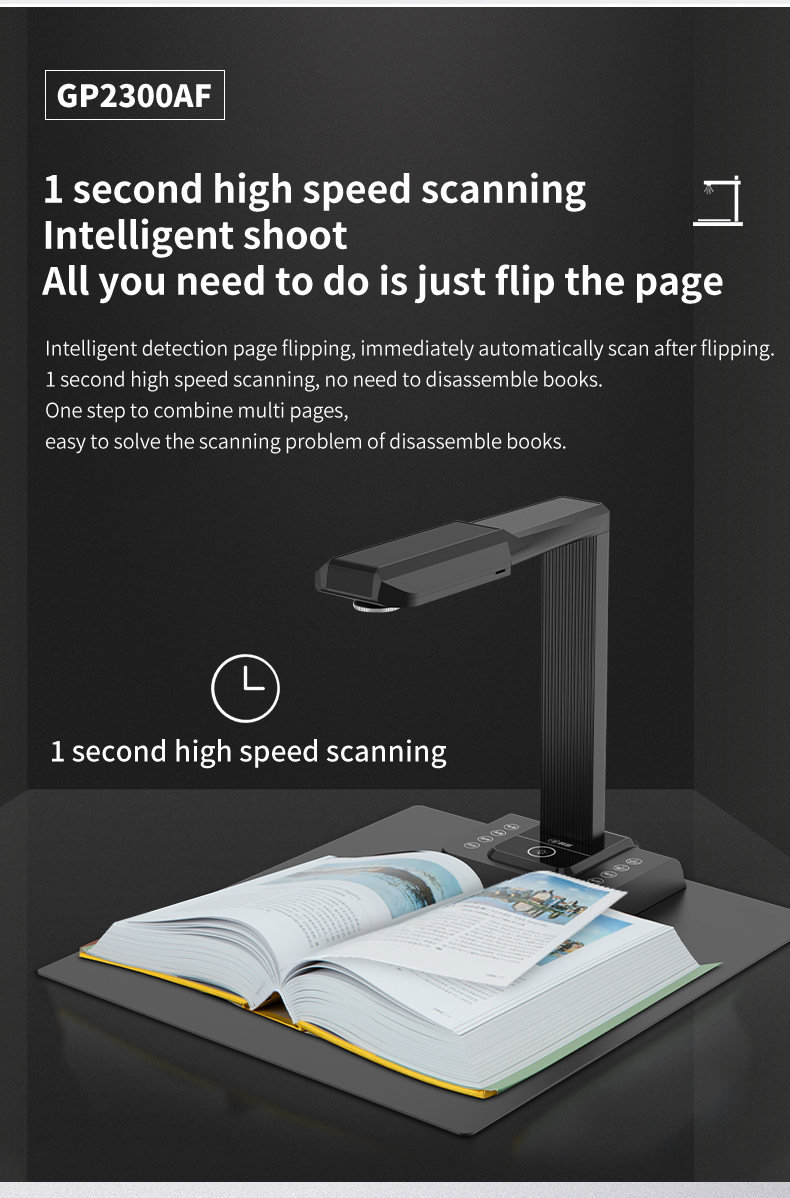 20MP OCR Document Camera Multi Languages Fletten Book Scanner A3 Portable Document Scanner