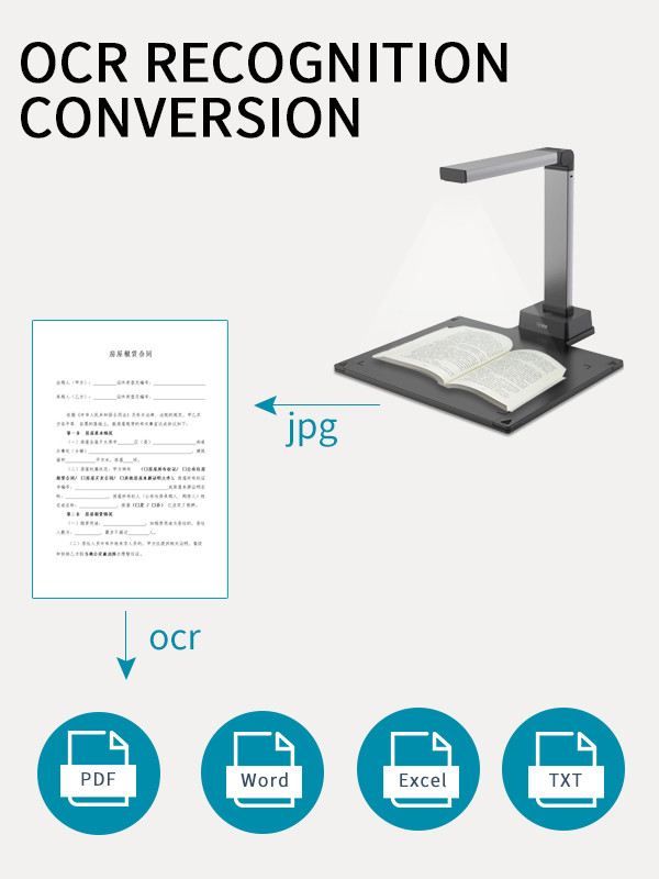 High quality A3 automatic scanner book 13MP portable standing usb ocr document camera scanner with hard base