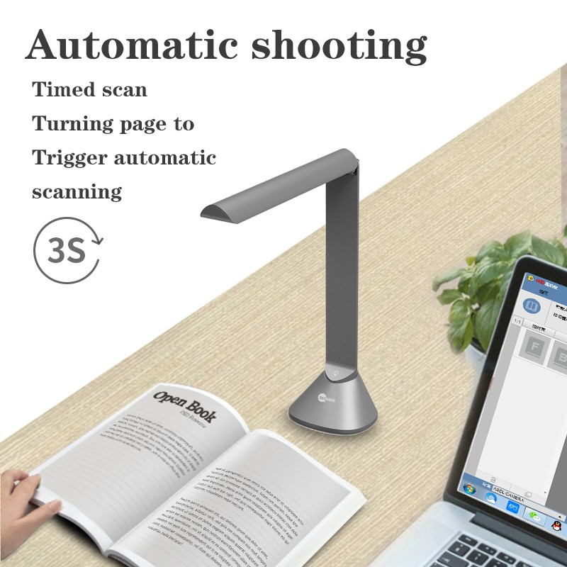 A3 20MP Curved Flattening A3 portable book photo bulk files scanning 20MP automatic OCR usb document camera visualizer scanner