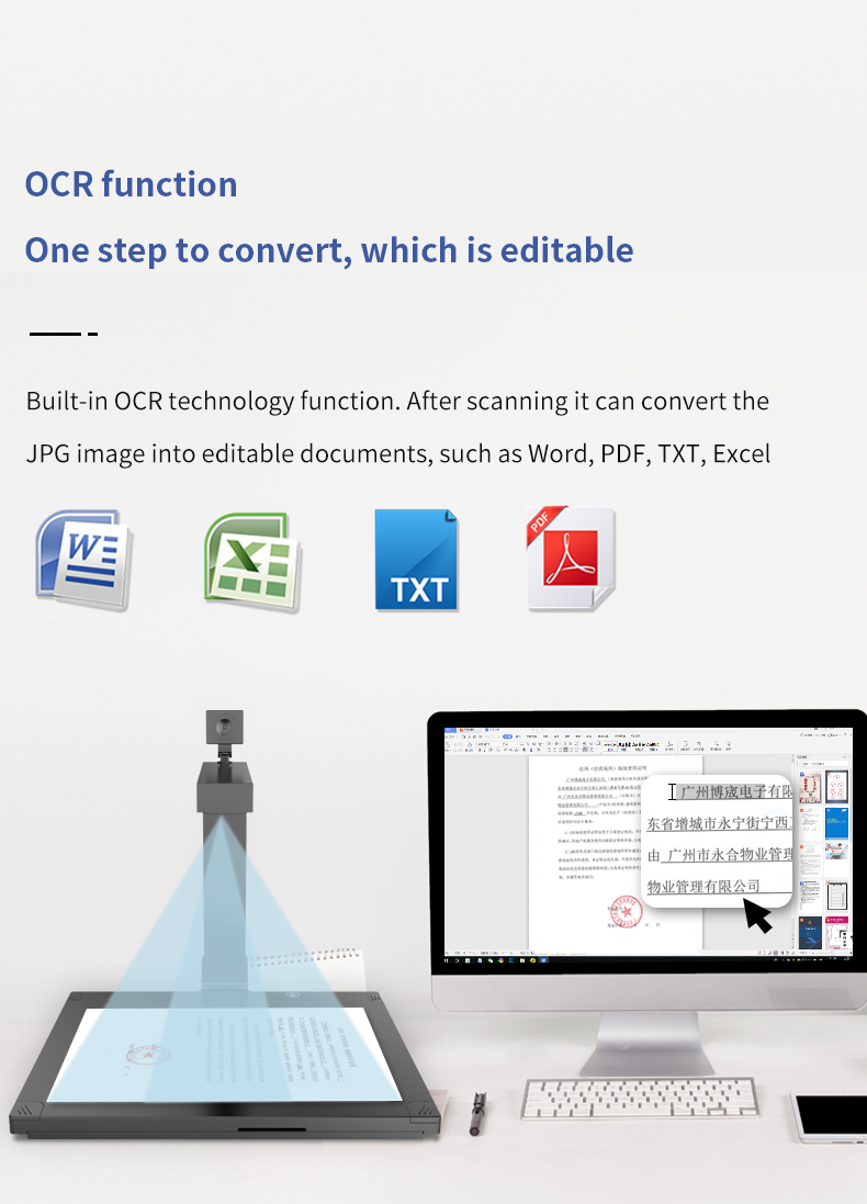 Fast A3 Portable Ocr Dual Camera Book Document Scanner Real time video Document Camera for bank
