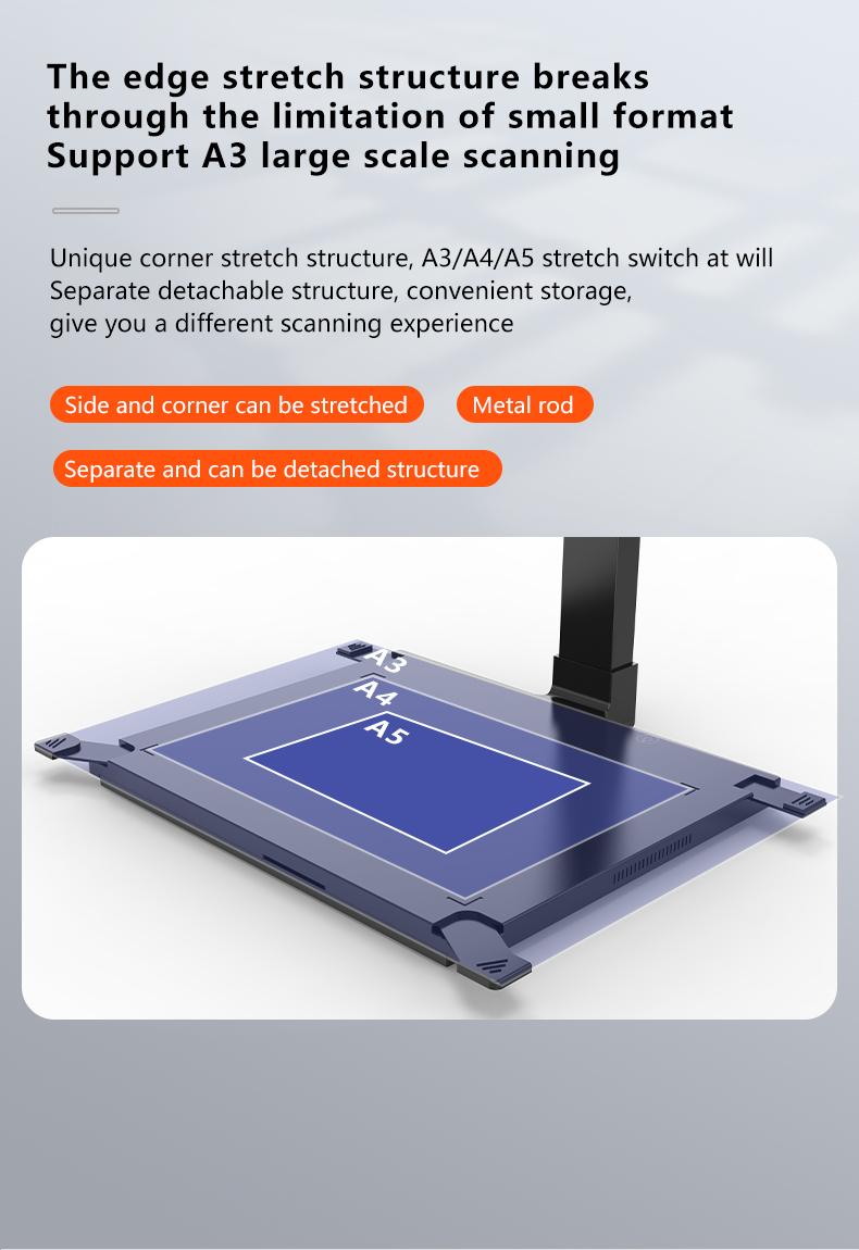 Factory Excellent Quality Desktop A3 Document Camera Scanner 16mp OCR Book Scanner Document Management
