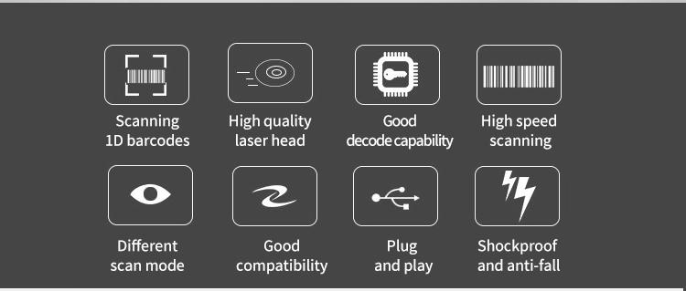 Cheap Corded Handheld Manual Barcode Scanner 1D Wired Laser Scanner Bar Code Reader For Sale