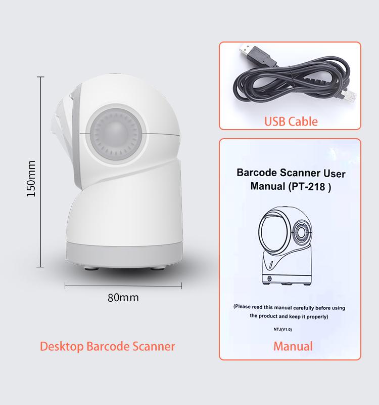 White High Quality 1D 2D Platform POS Omnidirectional Desktop Barcode Scanner Barcode And Qr Code Scanner For Supermarket