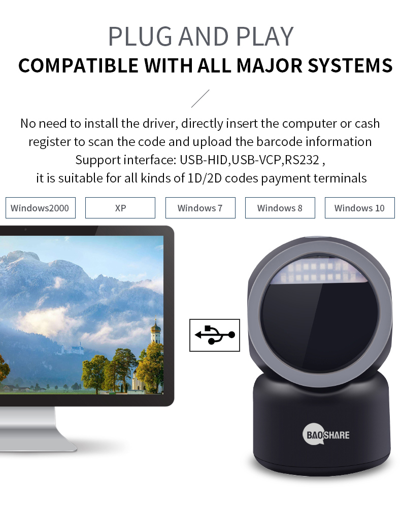 Wired 1D 2D Image Handsfree Barcode Scanner Desktop Omnidirectional Barcode Reader For Supermarket
