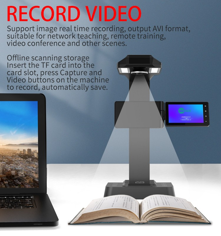 20Megapixels ABBYY OCR Document Camera Flatten Book Scanner A3 Portable Document Scanner With 5 inch Preview Screen