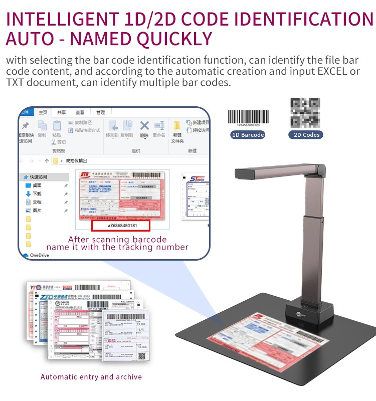 New A3 Portable Document Camera 18MP OCR Book Scanner USB Document Scanner For Library Office School Government