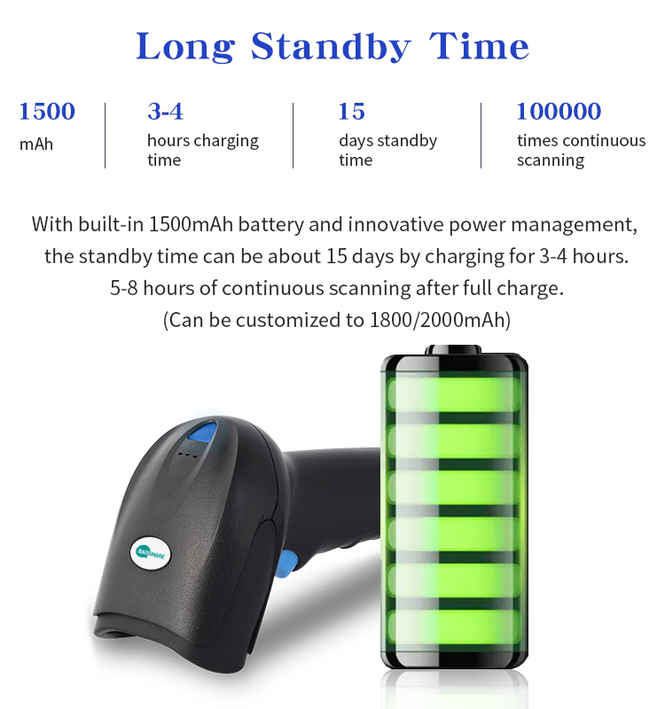 Directly Paired 2D 2.4G Auto Sensing Barcode Scanner Logistic Pharmacy Qr Reader with charging base