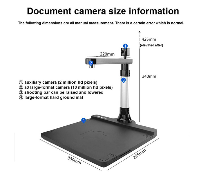 Comet GP-2000 hd portable dual camera tablet ID scanner 10 megapixels A4 hard base
