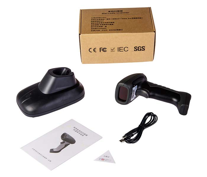 China factory Comet Laser 1d wireless  barcode scanner wireless machine with base,label scanner barcode reader WY10D