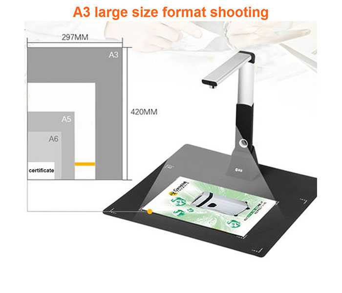 High Quality Portable Visual Presenter Education Flatbed Equipment Office 5M Document Camera