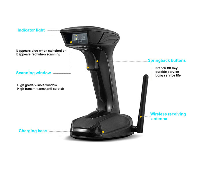 WY11D bluetooth qr code scanner/2d scanner, wireless scanner with base