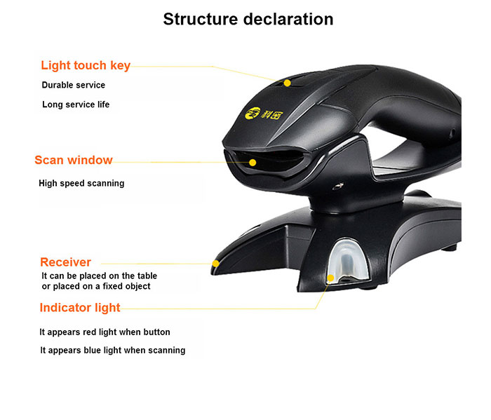 China factory Comet EW98D  2D wireless barcode scanner with base scanner or qr code reader