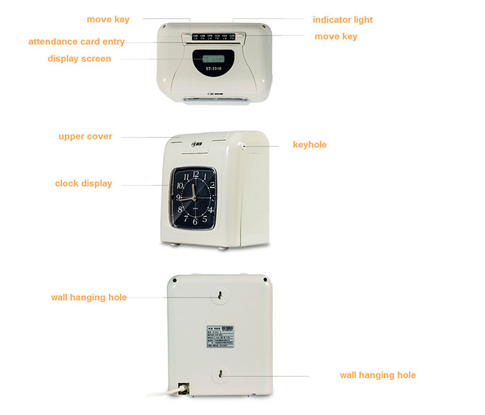 Portable electronic time recorder clock attendance system for