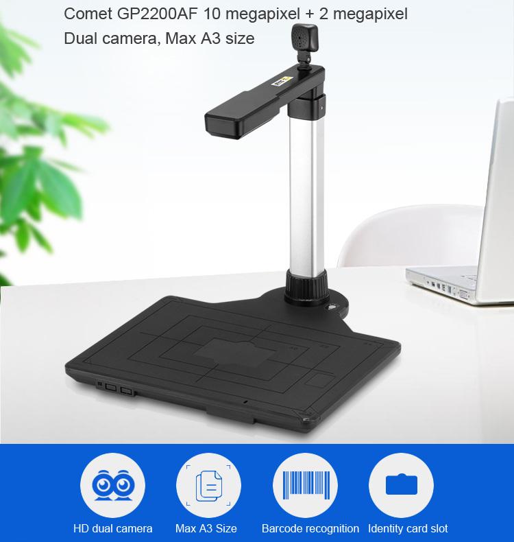 China manufacturer Comet GP2200AF 10.0MP +2.0MP, Dual Camera Auto Focus Document Camera a3