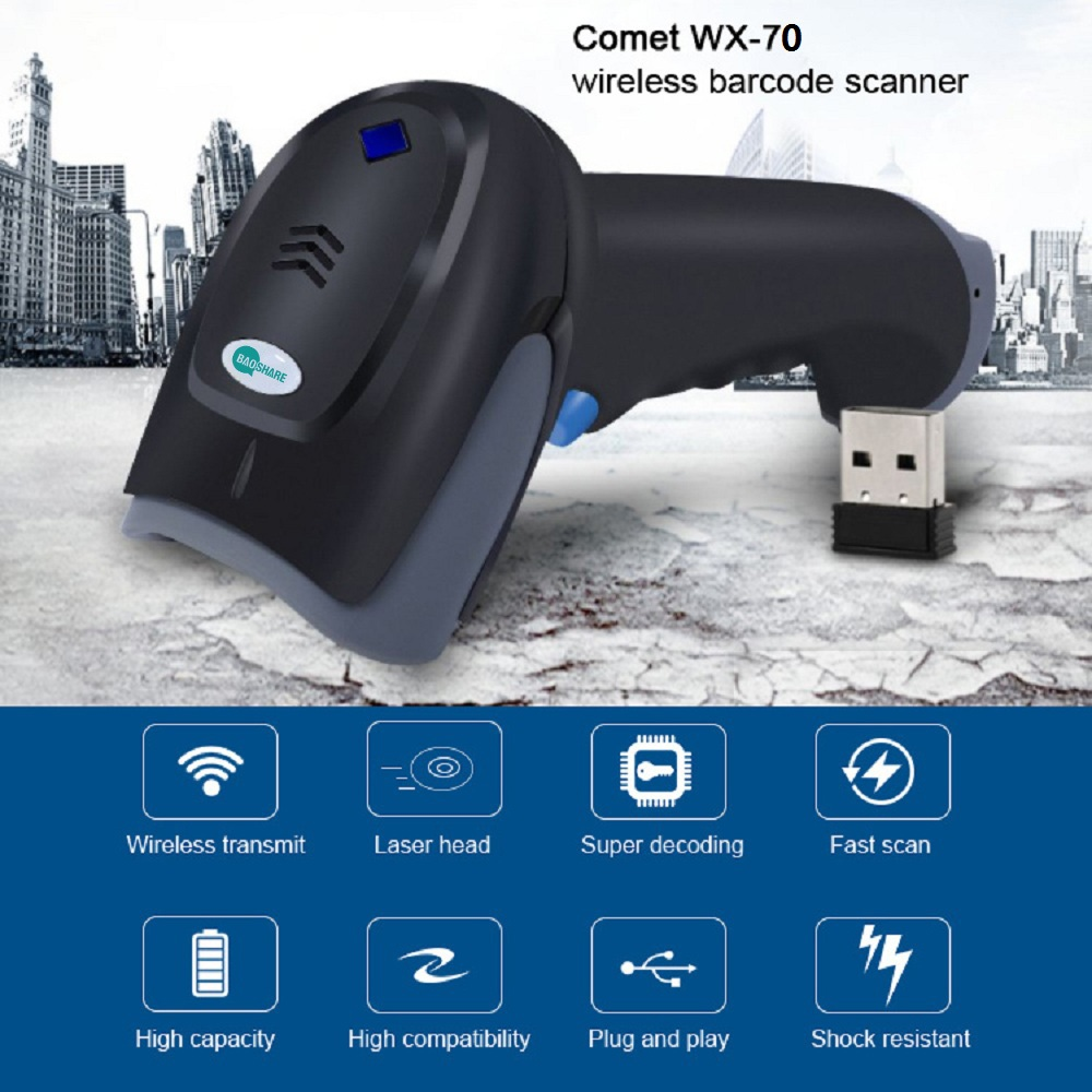 BaoShare handheld barcode scanner WX-70 portable 1D 2.4G wireless laser barcode reader for supermarket