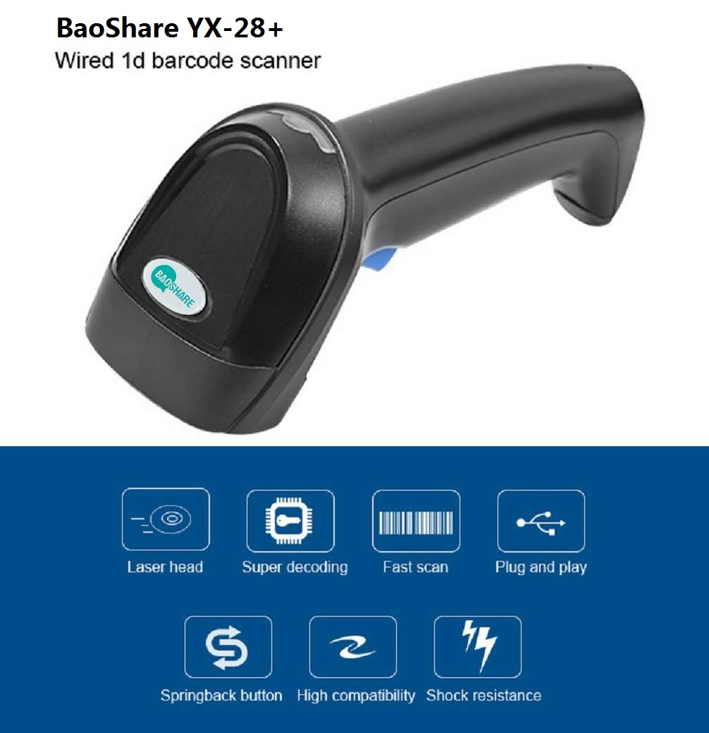 BaoShare YX-28+ 1D wired barcode scanner usb laser barcode