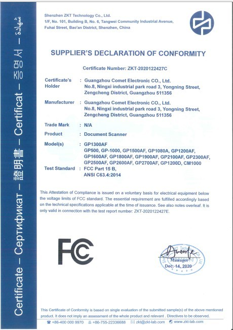 Document camera FCC