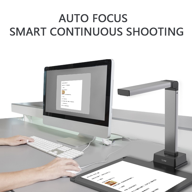 High quality A4 automatic scanner book 13MP portable standing usb ocr document camera scanner with hard base