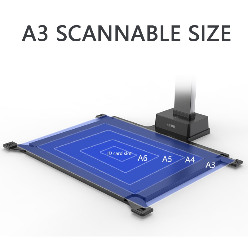High Speed A3 Automatic Scanner Book 13MP Portable Standing Usb Ocr Document Camera Scanner With Hard Base