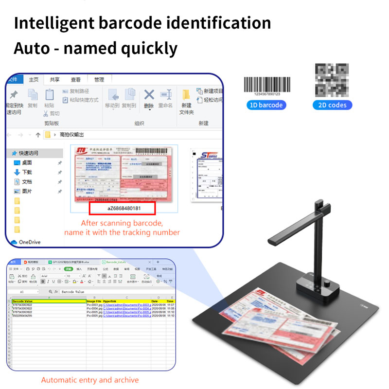 20MP Multi Languages High Speed Flatten Curve Book Scanner High Resolution A3 Portable Document Camera Scanner