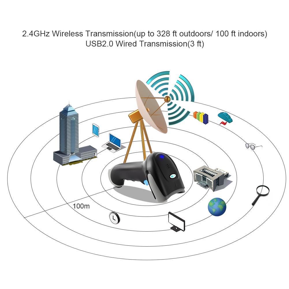 China Manufacturer OEM 1D Laser Reader Barcode Wireless Automatic Sensing Scanning Barcode Scanner For Supermarket
