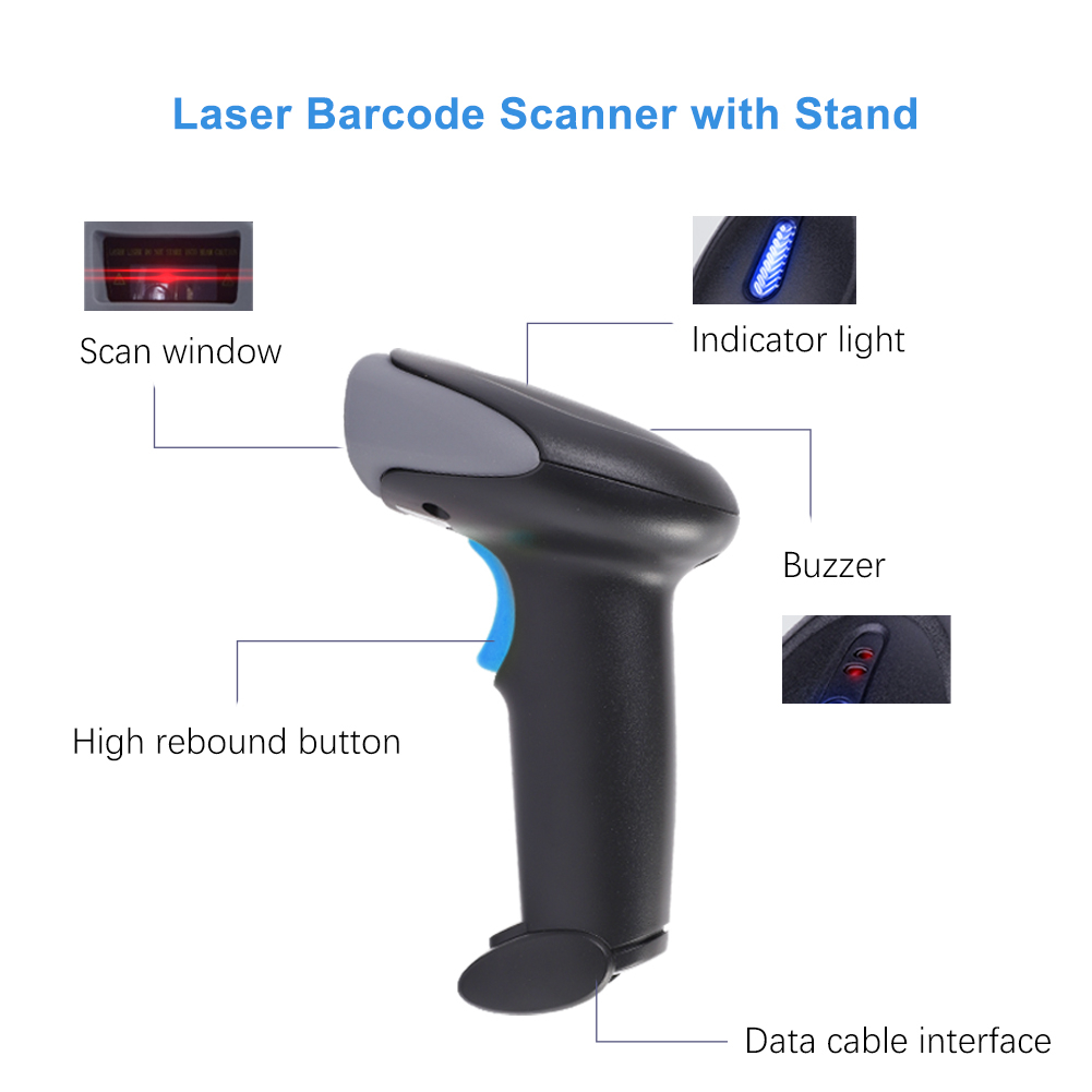 High Speed Supermarket Inventory Portable Cordless Laser Barcode Scanner Wireless 1D Code Bar Reader With Memory