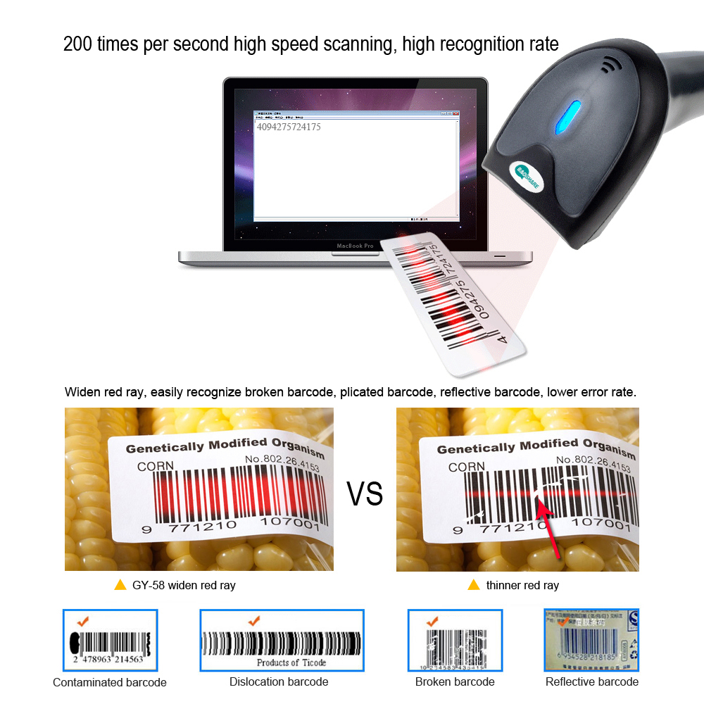China Factory 1d Laser Handheld Wireless 1D Bar code Reader Wireless Barcode Scanner With Memory