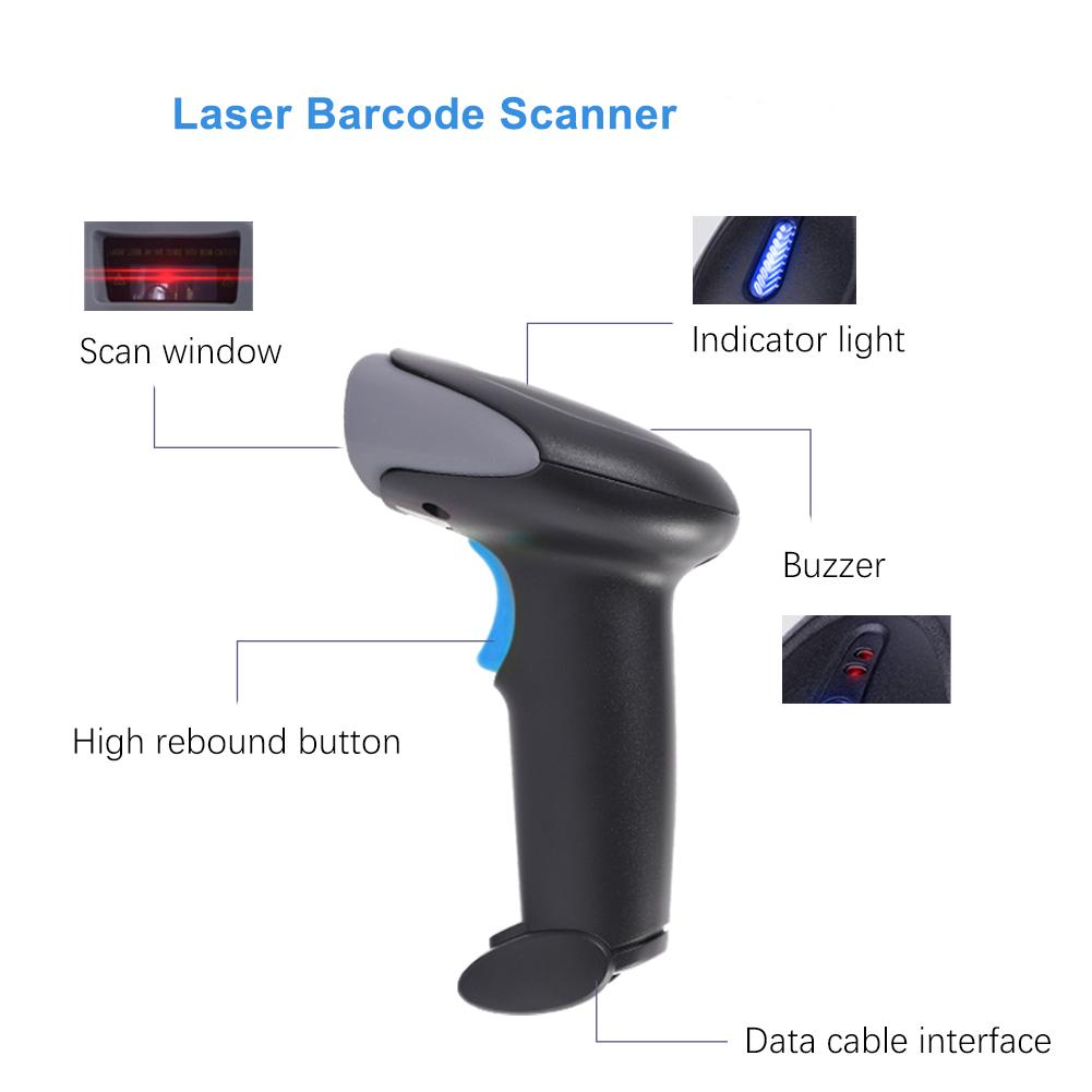 Cheap Fast Scanning Wired Handheld 1d Laser Portable Handheld Barcode Scanner Code Bar Reader For Supermarket