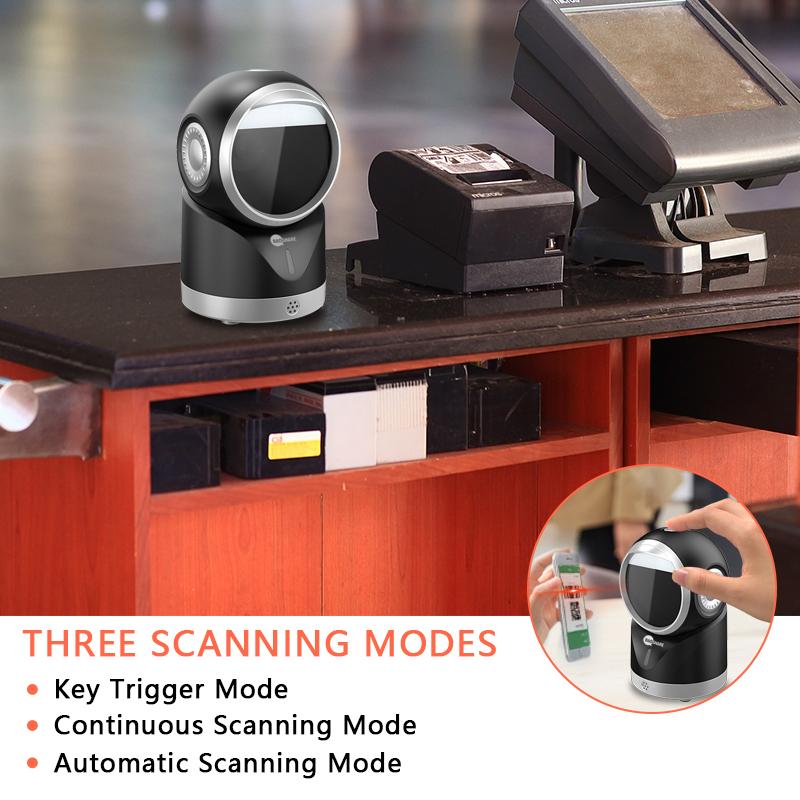 1D Wired Pos Desktop Bar code Scanner 2d Qr Code Reader Omnidirectional Barcode Scanner For Supermarket