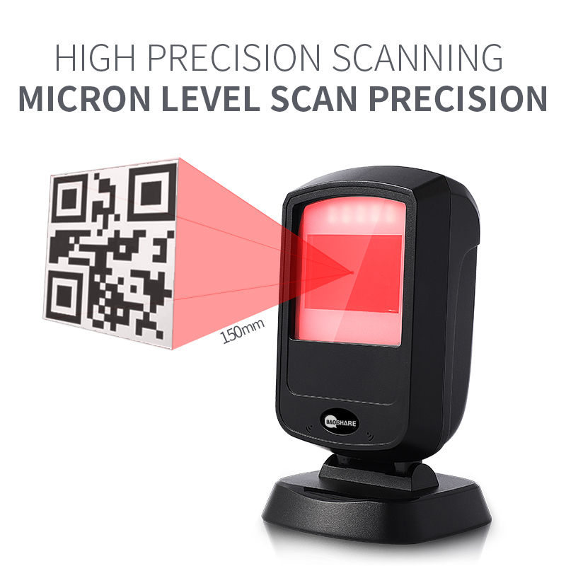 Fast Scanning Usb 1D 2D Desktop Omnidirectional Barcode Scanner Hand Free Qr Code Reader For Supermarket
