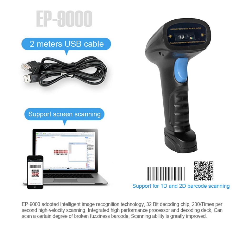 China Manufacture Handheld Barcode Scanner Portable Qr Code Scanner 2d Barcode Scanner