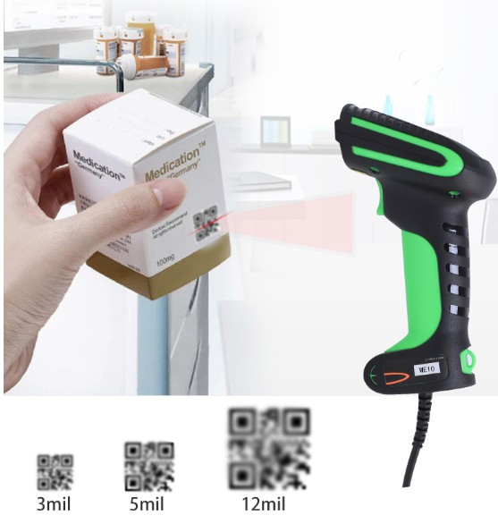 IP67 Waterproof Handheld Wired QR Code Scanner USB 2D Barcode Scanner For Warehouse Inventory
