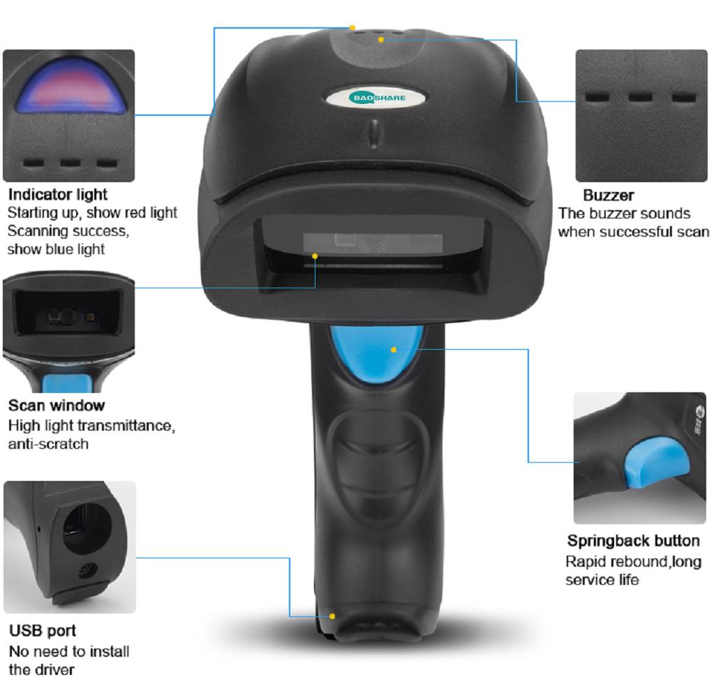Factory Handheld Portable 2.4G 1D 2D Barcode Reader Wireless Barcode Scanner
