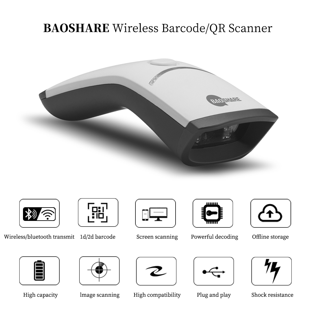 Factory Sell Portable Barcode Reader 1D 2D Wireless Bluetooth 2.4G Barcode Scanner For POS System