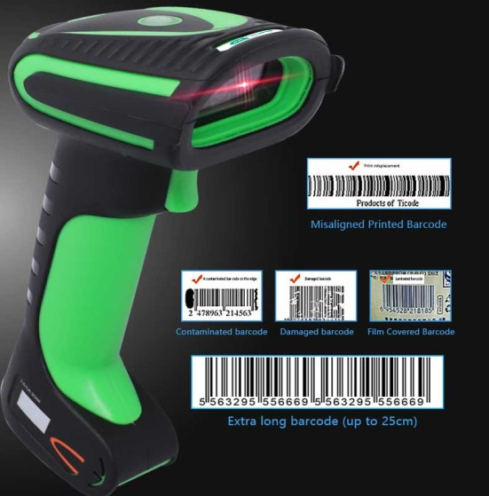 OEM IP67 Waterproof Bluetooth and 2.4G Handheld QR Code Scanner Wireless 2D Barcode Scanner With Charging Base