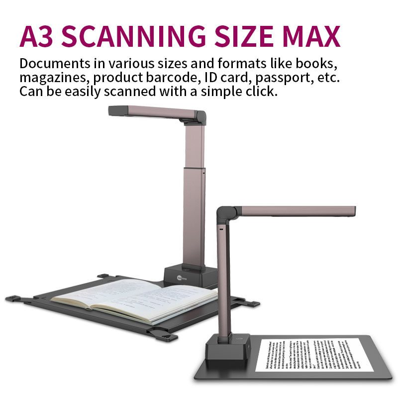 Professional 18MP OCR Book Scanner Digital High Resolution A3 Portable Document Camera for Multimedia Learning Displaying
